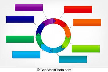 różny, pojęcie, barwny, handlowy, strzały, ilustracja, wektor, chorągwie, okólnik, design.