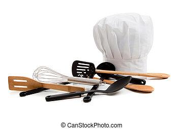 różny, przybory, tok, kuchmistrz, gotowanie, biały