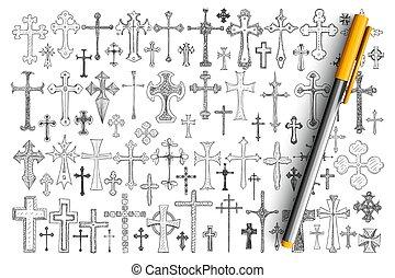różny, religijny, doodle, komplet, krzyże