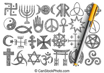 różny, religijny, doodle, symbolika, komplet