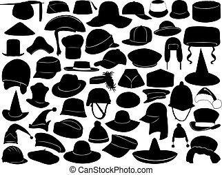 różny, rodzaje, kapelusze