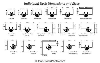 różny, rozmiary, sizes., osobnik, desktop, stół