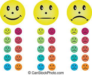 różny, szczęśliwy, nieszczęśliwy, neutralny, smileys, colors.