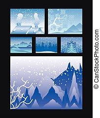 różny, tło, dom, drzewa, sceny, zima, czarnoskóry, krajobraz, sosna, góry