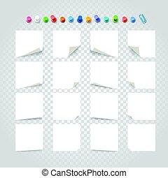 różny, tekst, zbiór, tło., papier, szablon, biały, majchry, przeźroczysty