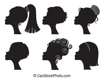 różny, -, twarz, sylwetka, wektor, czarnoskóry, hairstyles, kobiety