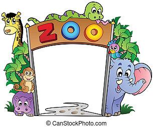 różny, wejście, zwierzęta, ogród zoologiczny