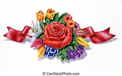 różny, wstążka, skład, kwiaty, tło., multicolor, biały, gatunek, czerwony