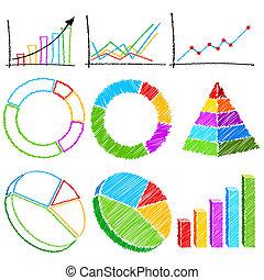 różny, wykres, finansowy