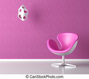 różowy, ściana, kopia, wewnętrzny, przestrzeń
