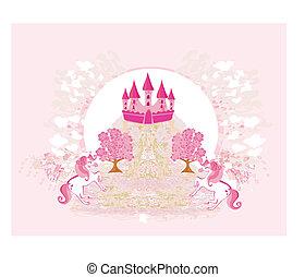 różowy, abstrakcyjny, jednorożce, zamek, wizerunek
