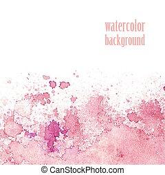 różowy, akwarela, 10, eps, layout., splashes., wektor, tło
