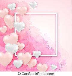 różowy, akwarela, tło, valentine