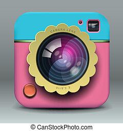 różowy, błękitny, fotografia, app, aparat fotograficzny, projektować, ikona