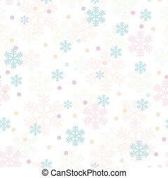 różowy, błękitny, płatki śniegu, próbka, seamless, boże narodzenie