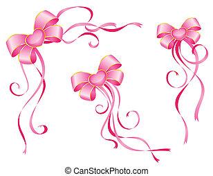 różowy, białe tło, łuk