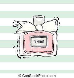 różowy, biały, butelka, bow., perfumy