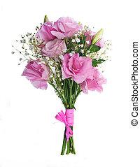 różowy, bukiet, kwiatowy, tło, róże