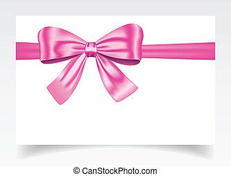 różowy, dar karta, łuk