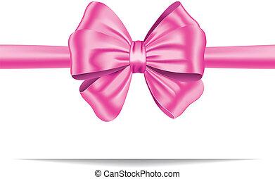 różowy, dar, wstążka, łuk