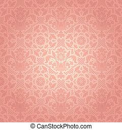 różowy, dekoracyjny, koronka, tło, szablon, kwiaty