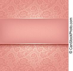 różowy, dekoracyjny, koronka, textural., 10, eps, tło, wektor, budowla