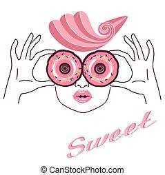 różowy, donuts, rys, dziewczyna, ręka