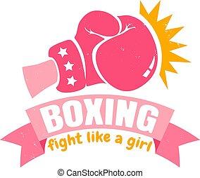 różowy, dziewczyna, boks, wstążka, rękawiczka