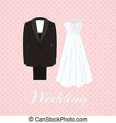 różowy garnitur, niezależnie, tło, poślubny strój