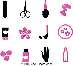 różowy, &, ), (, ikony, odizolowany, czarnoskóry, manicure, dziki, biały