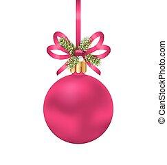 różowy, jodła, piłka, gałązki, łuk, boże narodzenie, wstążka