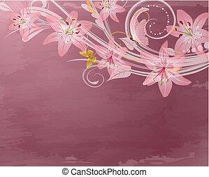 różowy, kaprys, kwiaty, retro