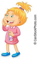 różowy, kiść, dziewczyna, butelka
