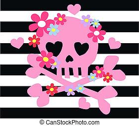 różowy, kość, kwiaty, wiosłować