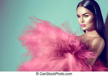 różowy, kobieta, brunetka, studio, wspaniały, przedstawianie, wzór, strój