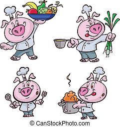 różowy, kok, chłodny, świnia