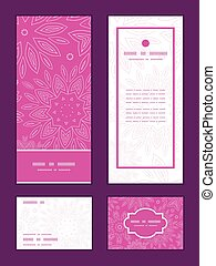 różowy, komplet, dziękować, pionowy, próbka, powitanie, struktura, wektor, ułożyć, zaproszenie, bilety, ty, kwiaty, abstrakcyjny, rsvp