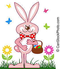 różowy, kosz, jaja, wielkanocny królik