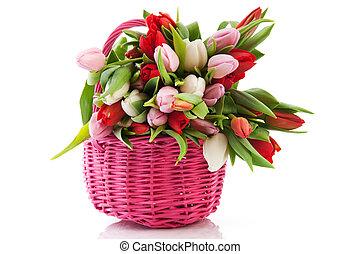 różowy, kosz, tulipany