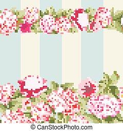 różowy kwiat, brzeg, tile.