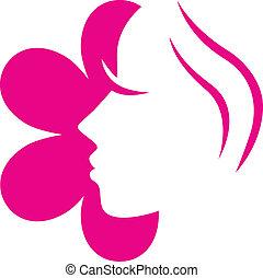 różowy kwiat, ), (, odizolowany, twarz, samica, biały, ikona