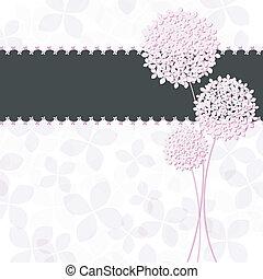 różowy kwiat, purpurowy, hortensja, powitanie, wiosna, karta