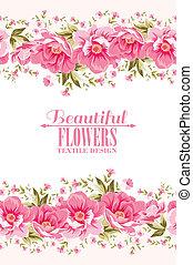 różowy kwiat, tekst, ozdoba, label., ozdobny