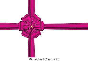 różowy kwiat, wstążka, łuk