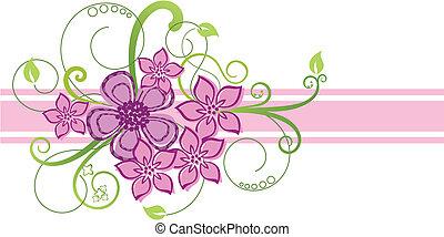 różowy, kwiatowy brzeg, projektować