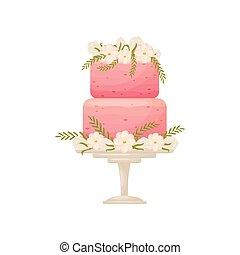 różowy, leg., two-tier, ilustracja, tło., wektor, stać, ciastko, biały