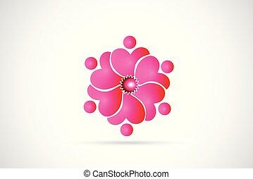 różowy, logo, kwiat, teamwork