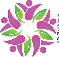 różowy, logo, teamwork, liście, ludzie