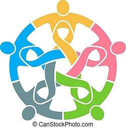różowy, ludzie, wektor, teamwork., logo, wstążka