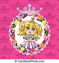 różowy, mała księżna, tło, blondynka